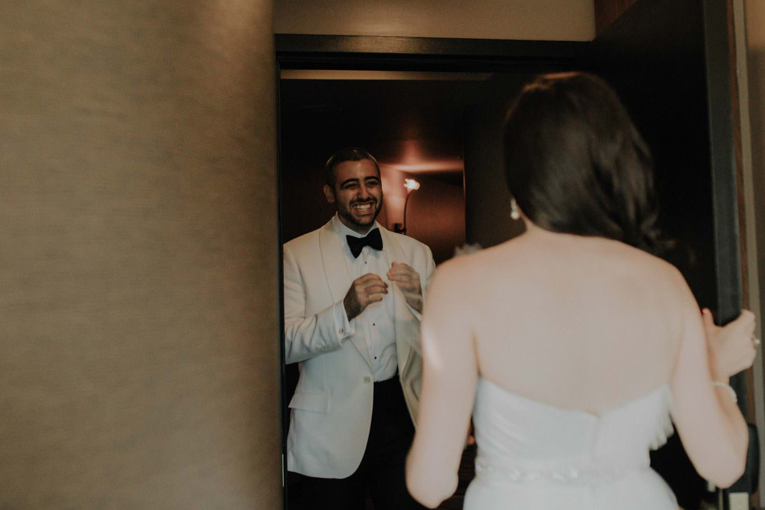 Groom at the Roxy Hotel seeing his Bride for the first time