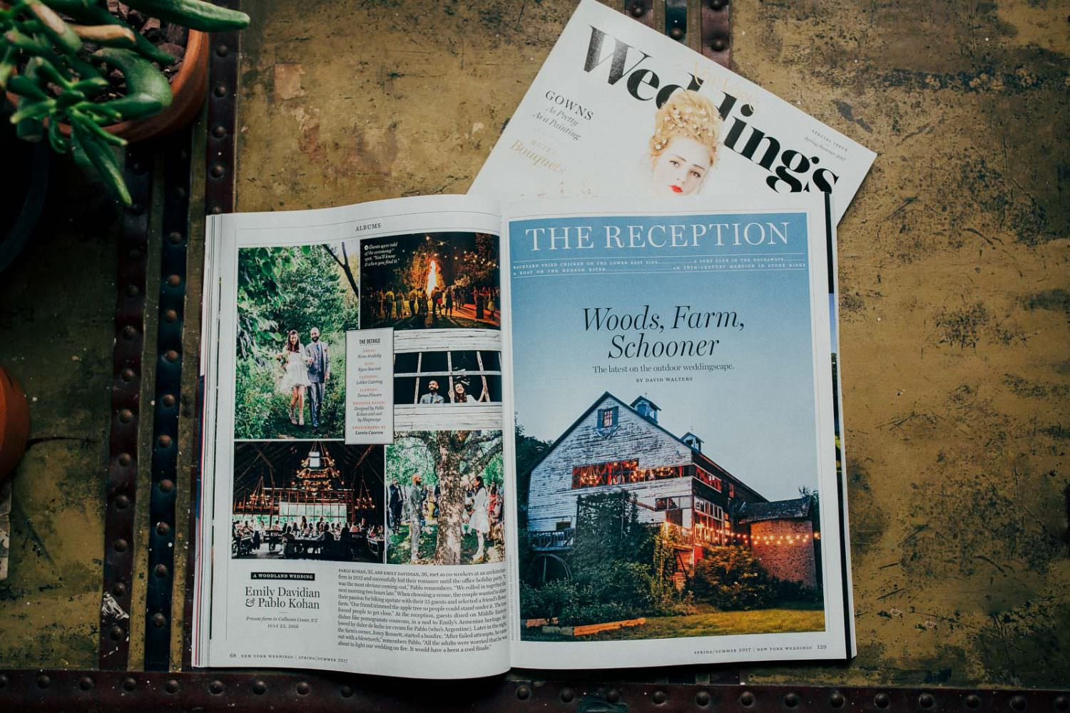 An inside spread of New York Magazine's wedding Featuring a Catskills wedding