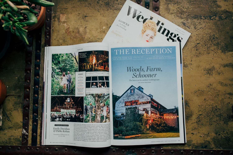 An inside spread of New York Magazine's wedding Featuring a Catskills wedding