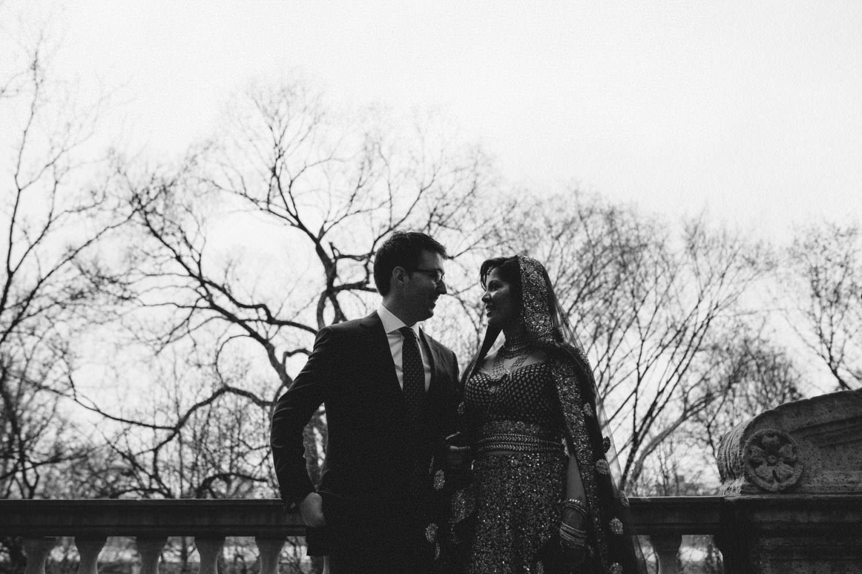 Bride and Groom at James Burden Mansion facing Central Park