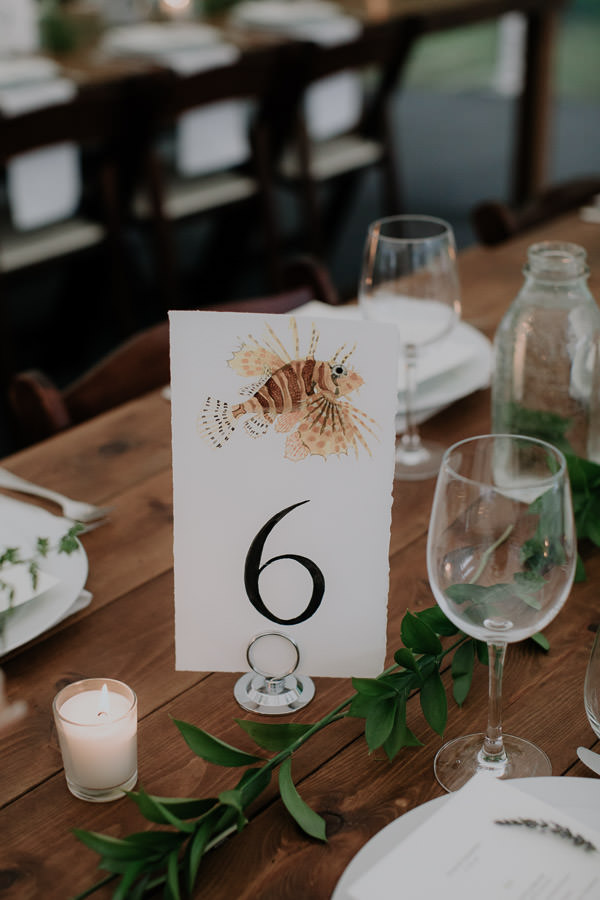 Hand painted table number cards