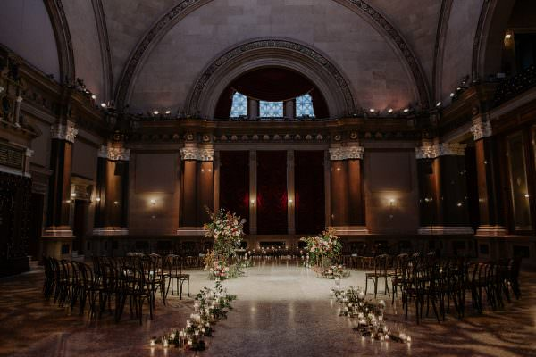 candles leading to the ceremony space at the Weylin in Brooklyn, NY