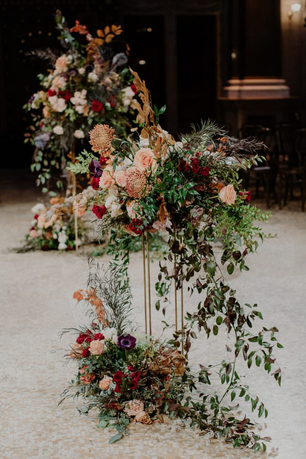 Ceremony floral design at the Weylin in Brooklyn by Rosehip Floral